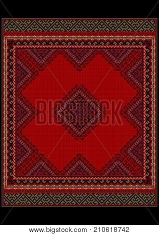 Luxurious vintage oriental rug with original pattern with red shades