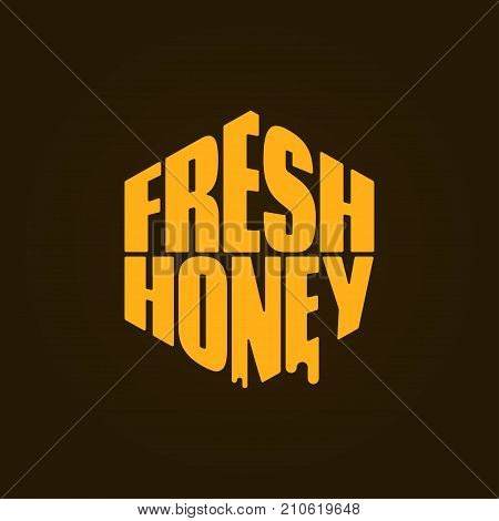 Honey logo design. Fresh honey comp lettering background. 8 eps