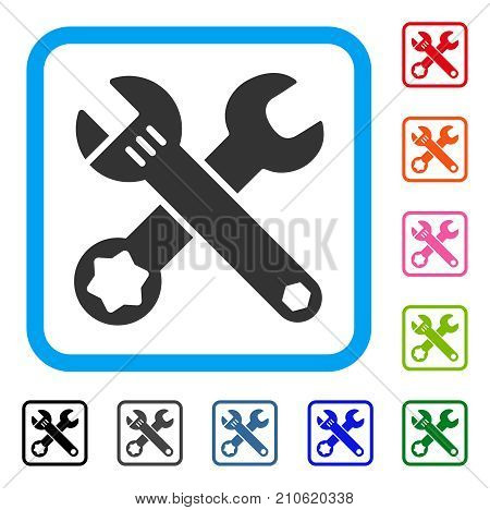 Wrenches icon. Flat gray pictogram symbol in a light blue rounded frame. Black, gray, green, blue, red, orange color additional versions of Wrenches vector. Designed for web and app interfaces.