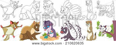 Cartoon animal set. Childish collection of fluffy rodents. Squirrel marten ferret polecat mole porcupine weasel otter opossum. Coloring book pages for kids.