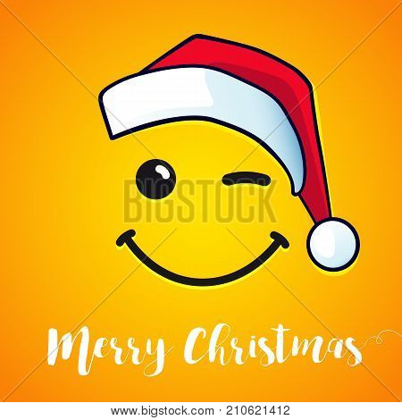Merry Christmas winking smile and red hat santa greeting card. 2018 vector banner design with smile icon and santa claus hat