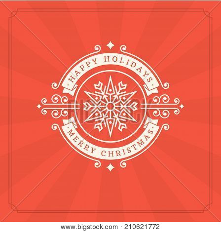 Christmas greeting card or poster design. Merry Christmas typography holidays wish logo emblem template. Red vector background.