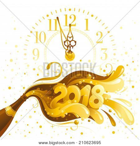 Happy New Year 2018 vector banner, clock dial, sparkling champagne wine bottle, bubbles. Alcohol drink concept illustration. Isolated white background. Swirl pattern design. Elegant text