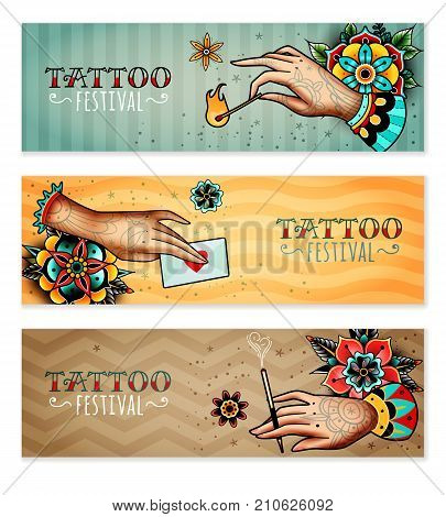 set of three horizontal banners on the subject tattoo festival with tattooed hands holding love letter, mouthpiece with a cigarette and burning match
