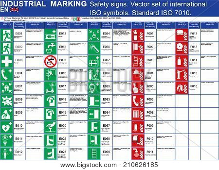 Set of vector safety signs buildings and other applications. Set ISO 7010 standard vector safety symbols. Vector safety symbols signs marks. Emergency exit, fire extinguisher door first aid ladder