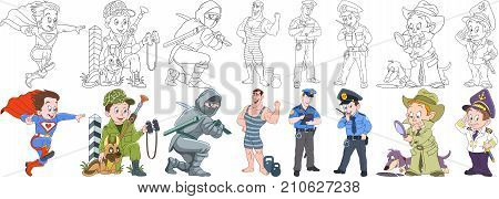 Cartoon working people set. Collection of professions. Superman military soldier with guard dog ninja athlete (bodybuilder) police officer (cop) detective sailor. Coloring book pages for kids.