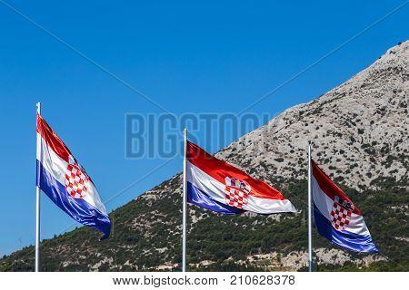 Croatian Flags In Front Of Sveti Ilija
