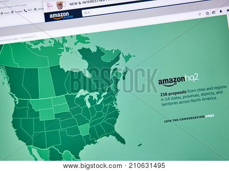 MONTREAL CANADA - OCTOBER 24 2017: Amazon second headquarter description and map on official website. Amazon HQ2 will be Amazon's second headquarters in North America.