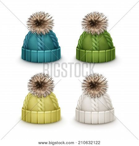 Vector set of blue, green, yellow, white winter knitted caps with pom-pom side view isolated on white background