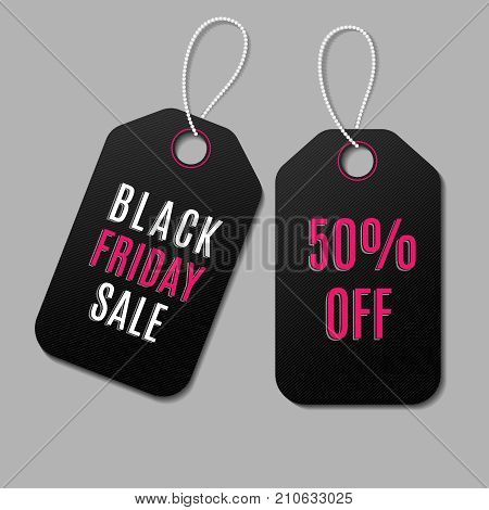 Black friday vector sale tags. Discount tag offer, design price tags illustration