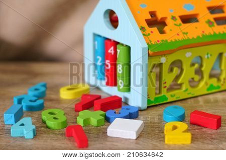The Colorful wooden toys in the playroom