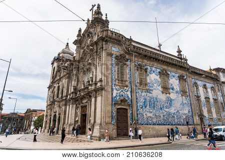 Porto, Portugal - July, 2017. View Of Carmelites Church With Our Lady Of Mount Carmel. Located In Th