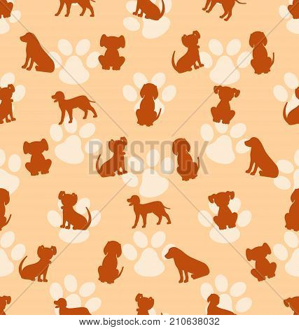 Seamless Pattern with Different Breeds of Dogs, Texture with Silhouettes Canines - Illustration Vector poster
