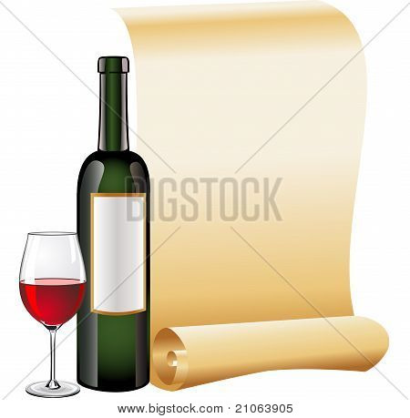 Glass of red wine with bottle and old scroll paper