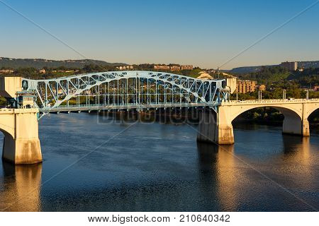 The Market Street bridge officially the John Ross bridge in Chattanooga Tennessee