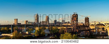 Panoramic view of Cleveland Ohio with bridges spanning the Cuyahoga just before sunset