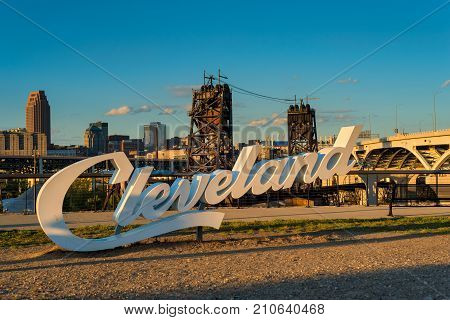 A Cleveland sign one of three in the city overlooking downtown from the near west side