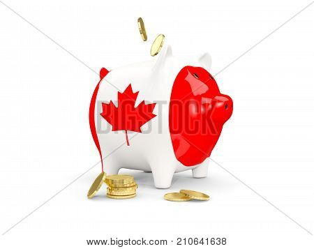 Fat Piggy Bank With Fag Of Canada