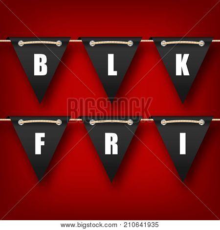 Black Friday Hanging Bunting Pennants, Advertising Poster - Illustration Vector