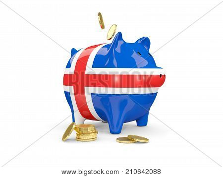 Fat Piggy Bank With Fag Of Iceland