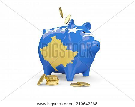 Fat Piggy Bank With Fag Of Kosovo