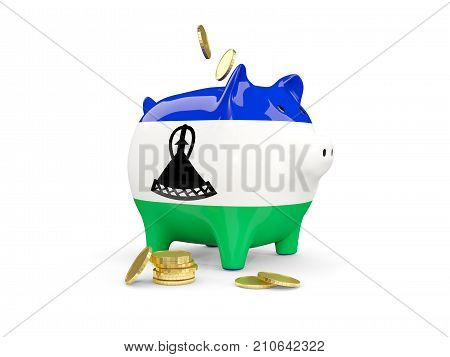 Fat Piggy Bank With Fag Of Lesotho