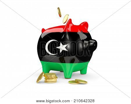 Fat Piggy Bank With Fag Of Libya