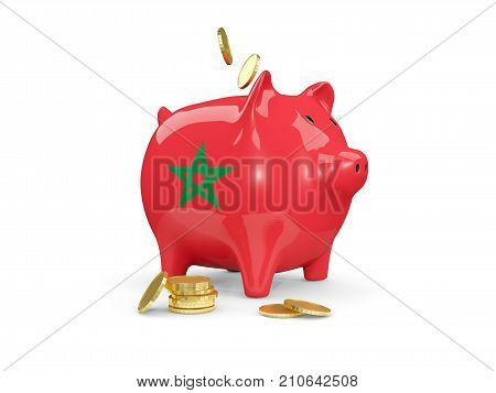 Fat Piggy Bank With Fag Of Morocco