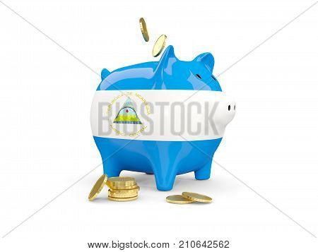 Fat Piggy Bank With Fag Of Nicaragua