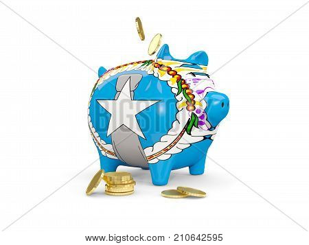 Fat Piggy Bank With Fag Of Northern Mariana Islands
