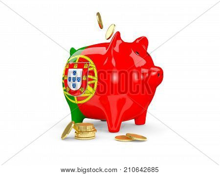 Fat Piggy Bank With Fag Of Portugal