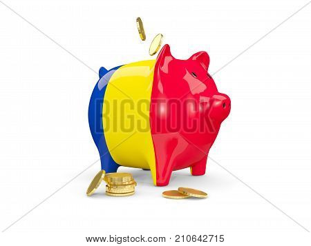 Fat Piggy Bank With Fag Of Romania