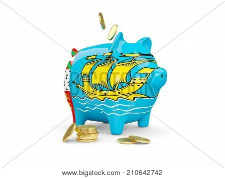 Fat Piggy Bank With Fag Of Saint Pierre And Miquelon