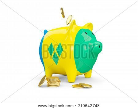 Fat Piggy Bank With Fag Of Saint Vincent And The Grenadines