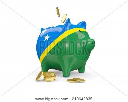 Fat Piggy Bank With Fag Of Solomon Islands