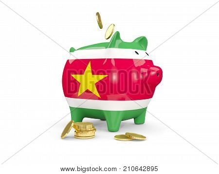 Fat Piggy Bank With Fag Of Suriname
