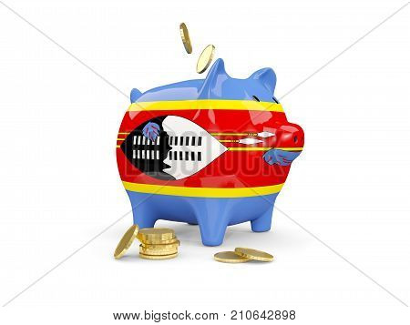 Fat Piggy Bank With Fag Of Swaziland