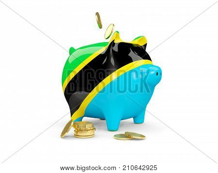 Fat Piggy Bank With Fag Of Tanzania