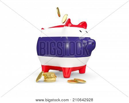 Fat Piggy Bank With Fag Of Thailand