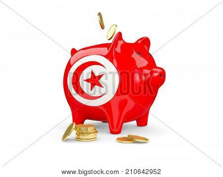 Fat Piggy Bank With Fag Of Tunisia