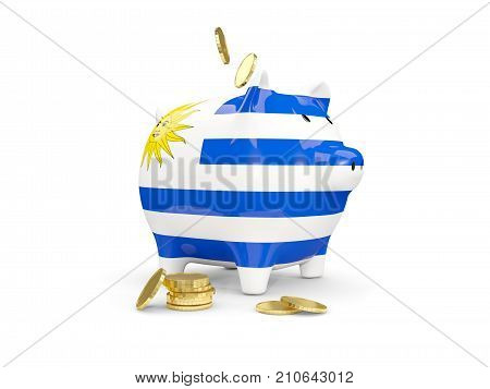 Fat Piggy Bank With Fag Of Uruguay