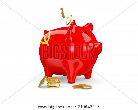 Fat Piggy Bank With Fag Of Ussr
