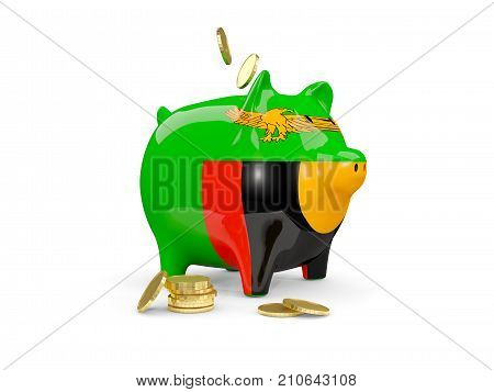 Fat Piggy Bank With Fag Of Zambia