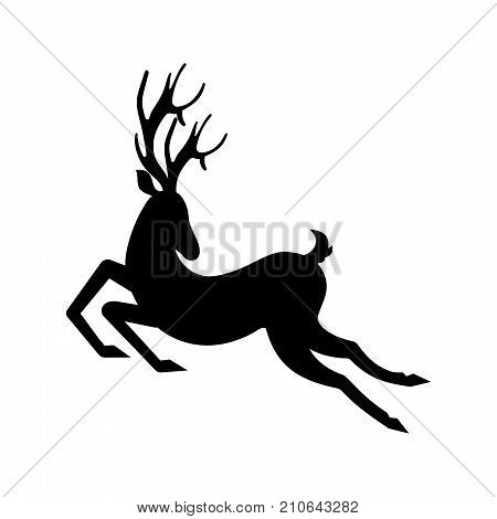 Silhouette Deer Running. Reindeer Moving. Leaping Stag - Illustration Vector