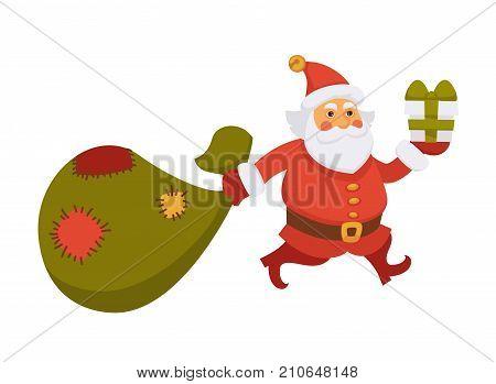 Santa carrying Christmas gifts bag and running cartoon character. Santa hurry holding New Year gift in daily life routine activity. Vector isolated flat icon for Christmas, New Year greeting card