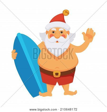 Santa on summer ocean vacations cartoon character. Santa with surfboard on holidays in daily life routine activity. Vector isolated flat icon for Christmas, New Year greeting card design