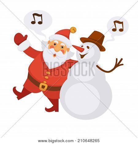 Santa and snowman singing Merry Christmas song cartoon characters. Vector isolated flat icon of Santa and Xmas song notes for New Year greeting card design template element