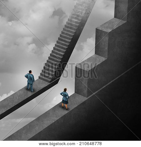 Gender discrimination and sexism inequality for being female concept as a woman with the burden of climbing a difficult obstacle and a man with easy path stairs as a 3D illustration symbol as a symbol for unfair gender bias.