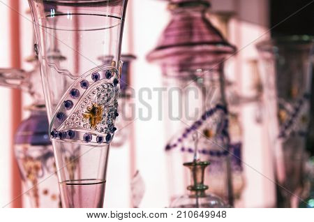 Bright Arabic glassware, background, object, glass, background