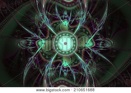 Perfection in geometry. Beautiful fractal frequency shapes Illustration. Fractals can illustrate universe, galaxies, chaos, creativity, solar system, firework, explosion space music and art concept. Black.